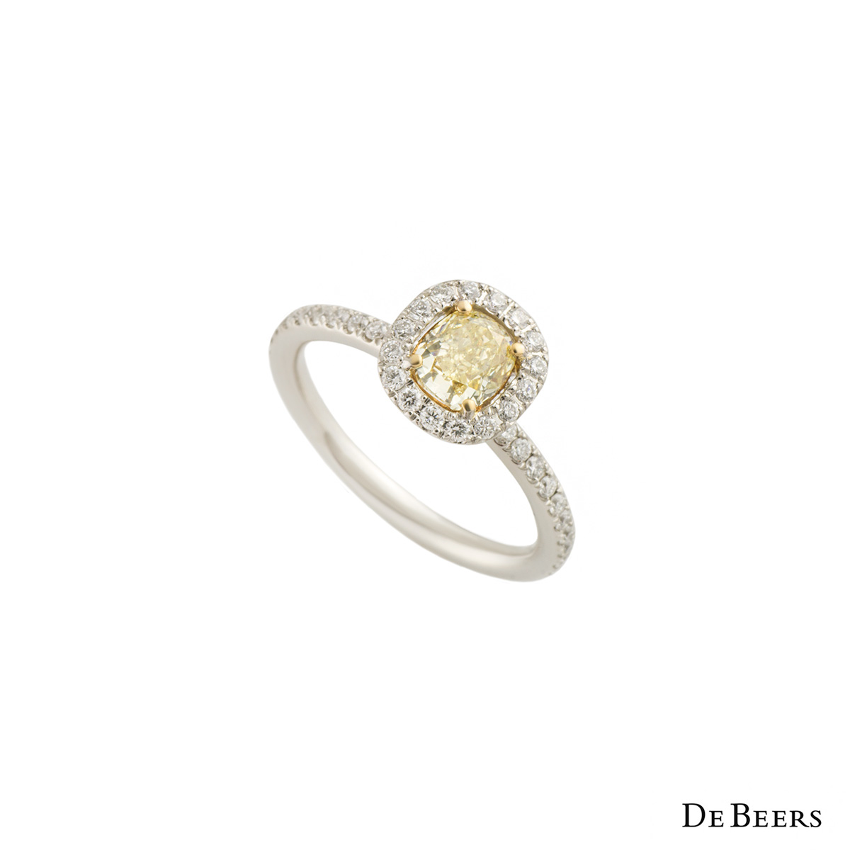 De Beers Platinum Yellow Diamond Aura Ring